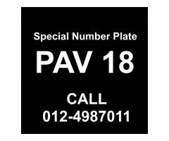 Special Number Plate For Sale - PAV18